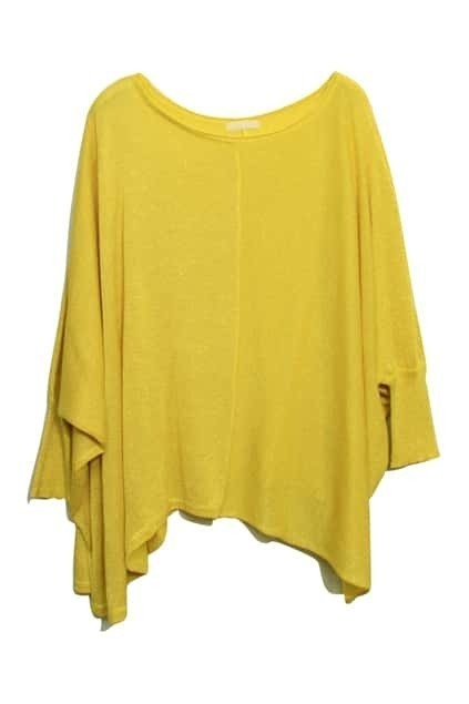 Batwing Sleeves Oversized Yellow Jumper
