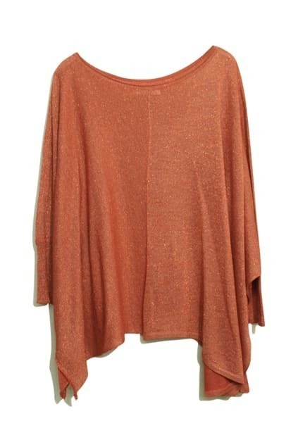 Batwing Sleeves Oversized Brick-red Jumper