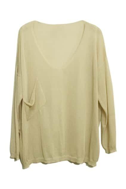Oblique Pocket V-neckline Cream Jumper