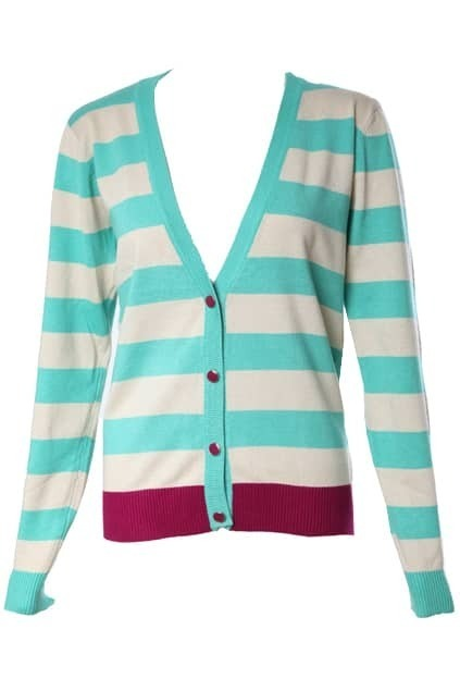 V-neck Contrast Colour Stripe Cardigan