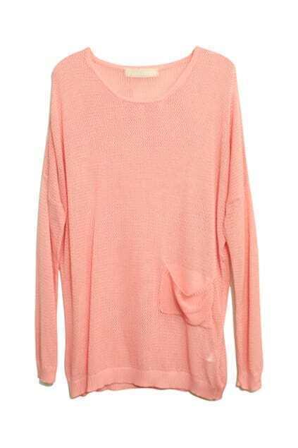 Pocket Detailing Knitted Pink Jumper