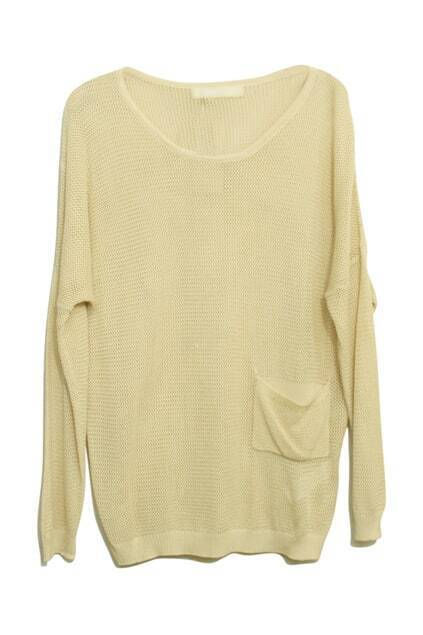 Pocket Detailing Knitted Beige Jumper