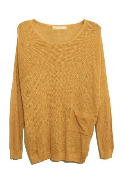 Pocket Detailing Knitted Yellow Jumper