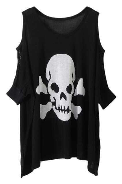 Skull Print Off-Shoulder Black Jumper