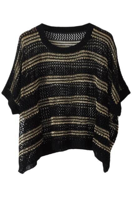 Horizontal Stripes Oversized Black Jumper