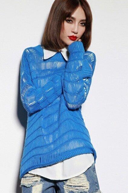 Hollow Vertical Knit Blue Jumper