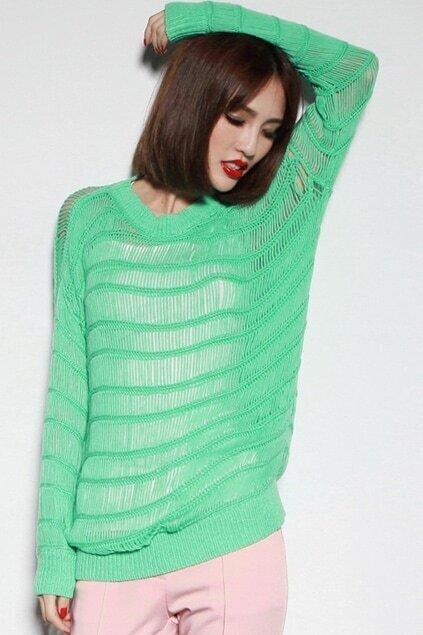 Hollow Vertical Knit Green Jumper