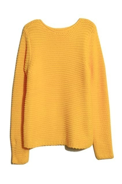 Rib Crochet Yellow Jumper