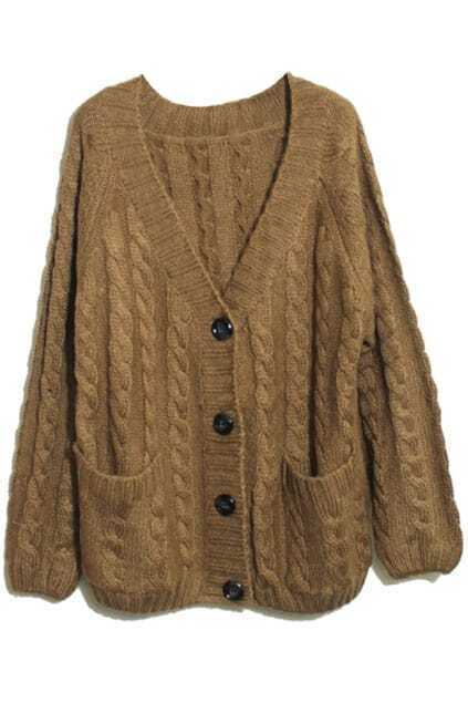 Vertical Plait Crochet Coffee Cardigan