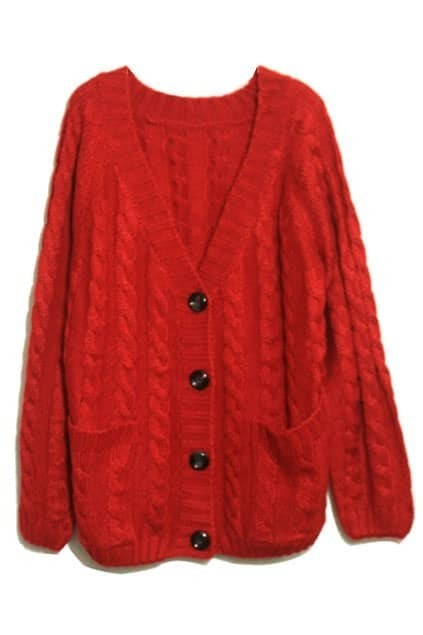 Vertical Plait Crochet Red Cardigan