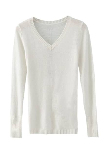 Simple Style V-shape  White Sweater