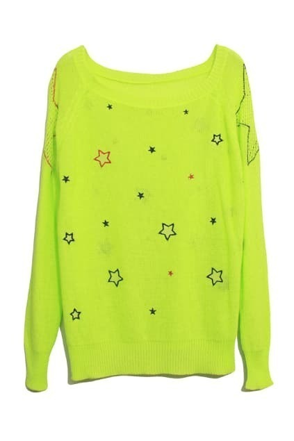 Pentagram Embroidery Fluorescent Green Cardigan