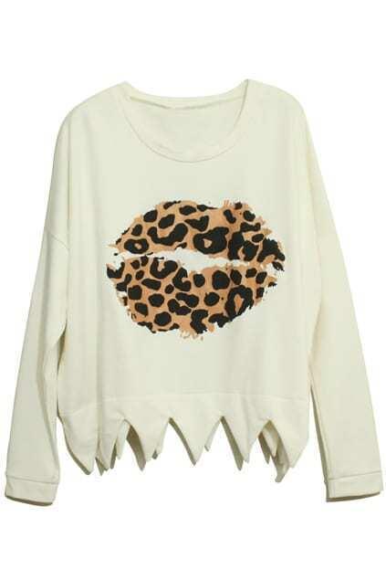 Leopard Lips Pattern White Cardigan