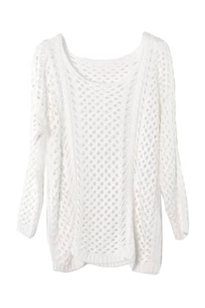 Hollow Scoop Neck White Jumper