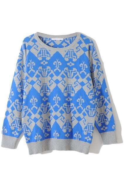 Knitted Anomalous Geometric Pattern Blue Jumper