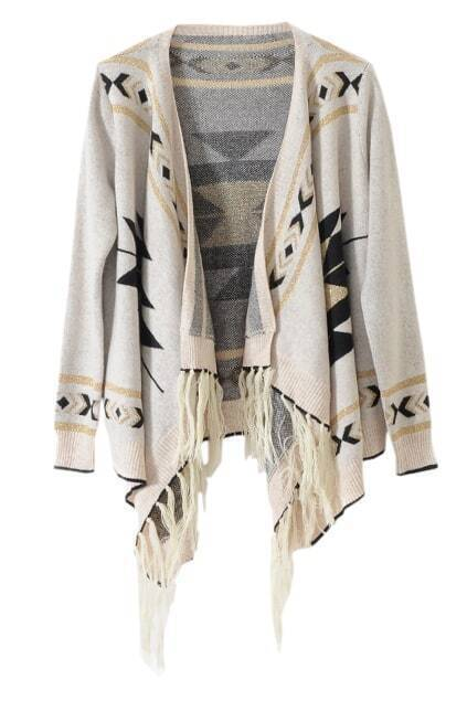 Knitted Aztec Light-cream Cardigan