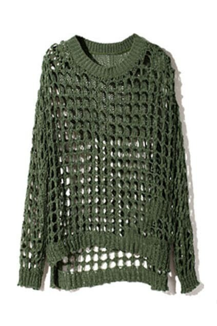 Gridding Hollow Green Jumper