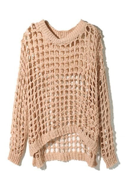 Gridding Hollow Nude Pink Jumper