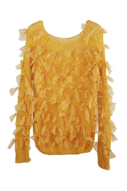 Elastic Hem Bowknotted Yellow Jumper