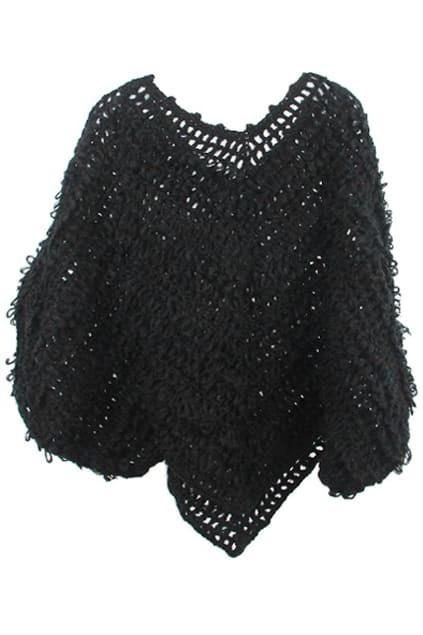 Bat Styling Hollow Black Sweater