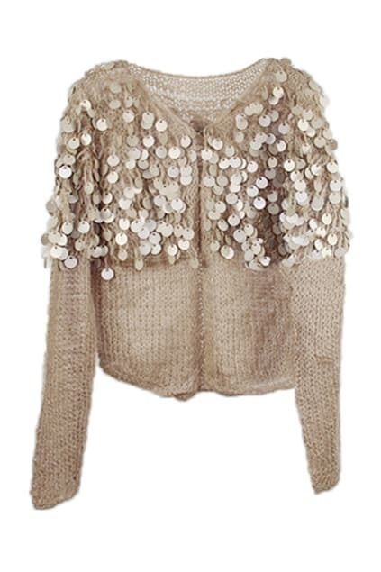 Matte Round Sequins Apricot Cardigan