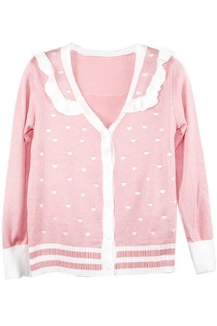 Floucing Peach Heart Pink Cardigan