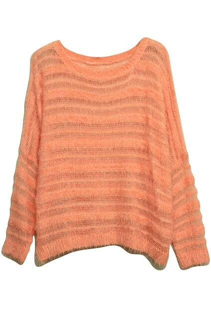 Stripes Mohair fringe Orange-Pink Jumper