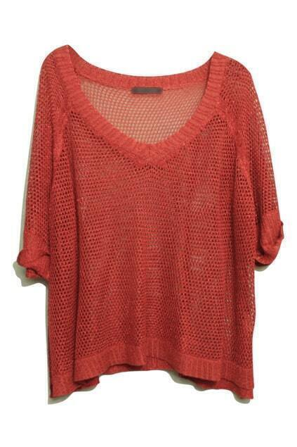 Hollow-Carved Twinkle Pearly-Lustre Brick-Red Jumper