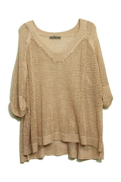 Hollow-Carved Twinkle Pearly-Lustre Nude-Pink Jumper