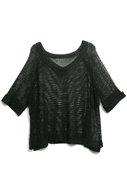 Hollow-Carved Twinkle Pearly-Lustre Black Jumper