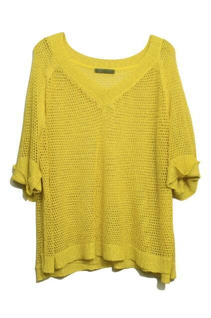 Hollow-Carved Twinkle Pearly-Lustre Yellow Jumper