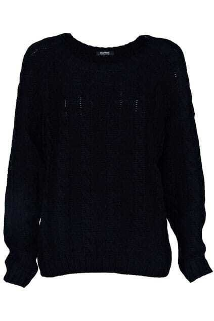 Vertical Plait Crochet Black Jumper