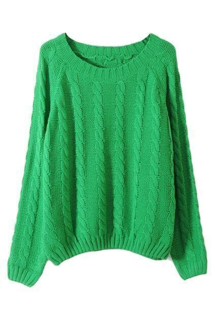 Vertical Plait Crochet Green Jumper