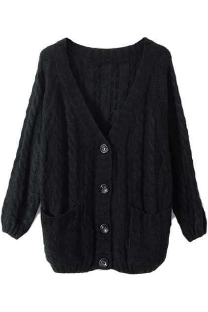 Chunky Cable Knit Black Cardigan