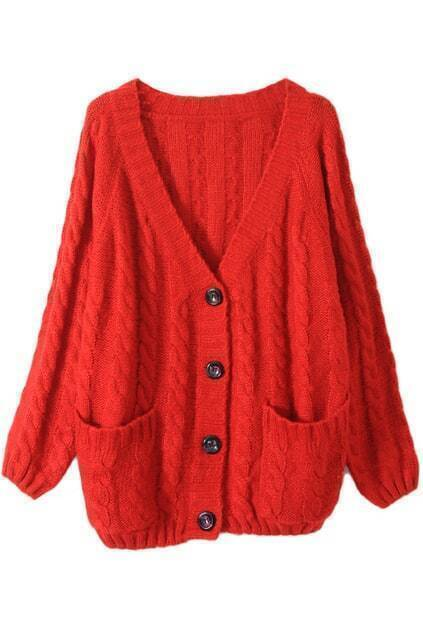 Chunky Cable Knit Red Cardigan