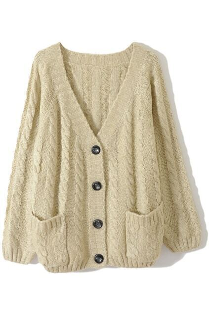 Chunky Cable Knit Cream Cardigan