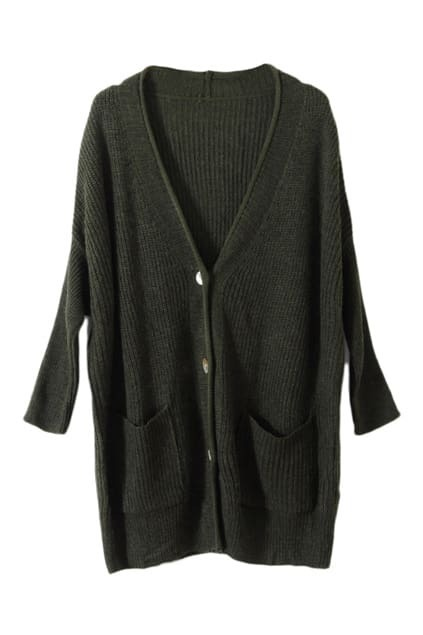 Oversized Shell Button Blackish Green Cardigan