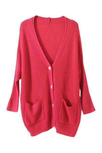 Oversized Shell Button Dark Rose Cardigan