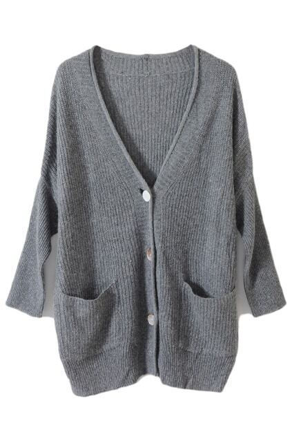 Oversized Shell Button Light Grey Cardigan