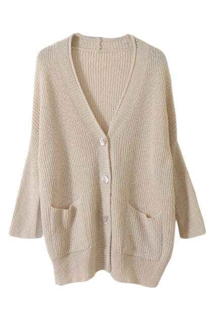 Oversized Shell Button Cream Cardigan