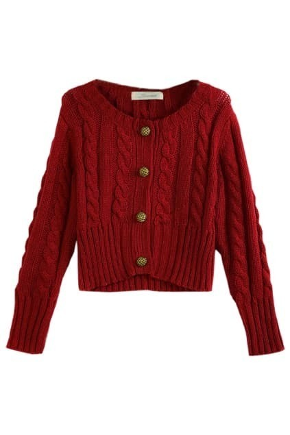 Retro Style Cross Line Red Cardigan