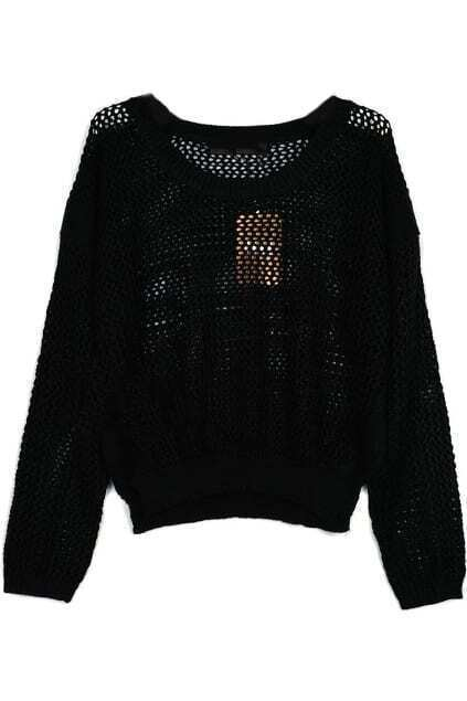 Hollow Out Black Short Sweater