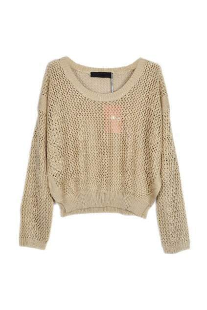 Hollow Out Apricot Short Sweater