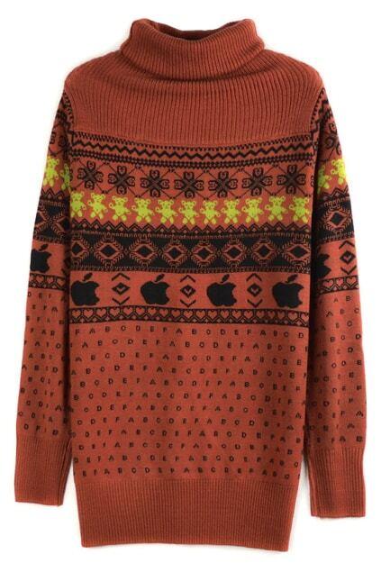 Bear Printed Orange Turtleneck Sweater