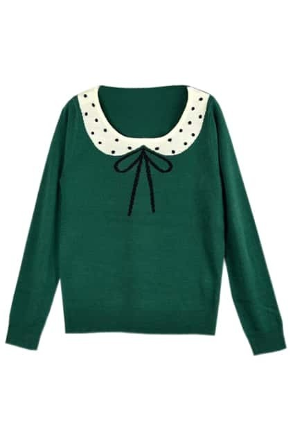 Dots Printed Bowknot Green Sweater