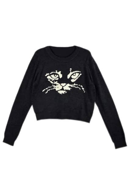 Cat Head Printed Black Sweater