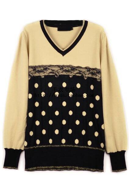 Black And Apricot Dot Lace Sweater