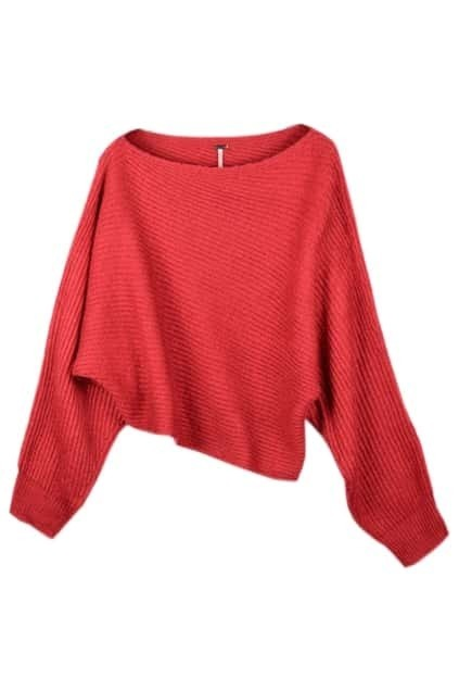 Asymmetric Red Batwing Sweater