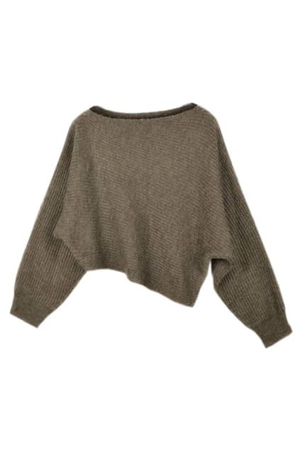 Asymmetric Chocolate  Batwing Sweater