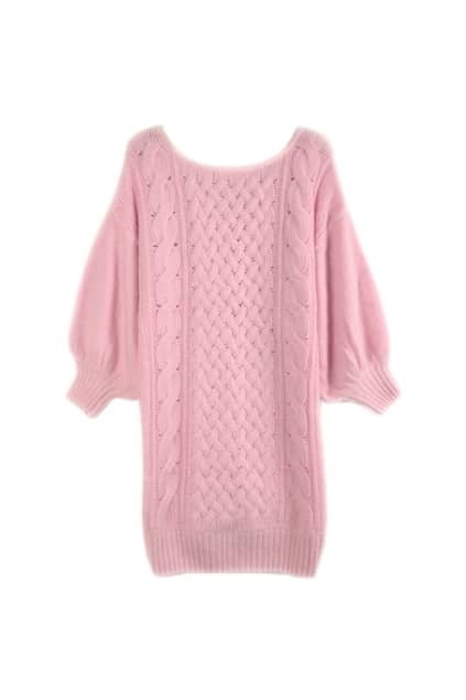 Ribbed Knit Pink Sweater